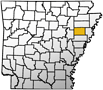Map showing Cross County's location within the state of Arkansas.
